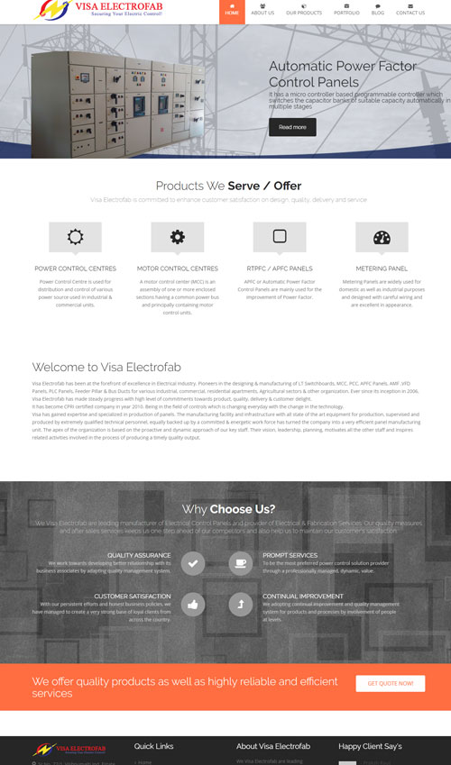 Electrical Goods Manufacturing Company Website Development By TECHUI