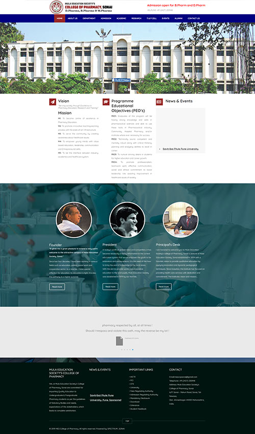 Pharmaceutical College Website Development by Techui
